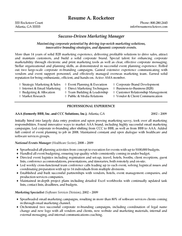b2b marketing manager resume example. Resume Example. Resume CV Cover Letter