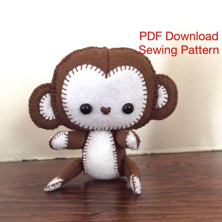 PDF,  Sewing Pattern, Felt Monkey , Plushie monkey, Toy monkey, Downloadable Pattern, sewing tutorial, holiday project, monkey by EverSewNice on Etsy