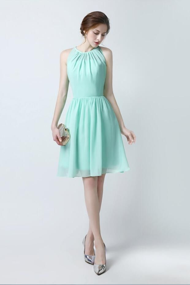 158fc46edb Chiffon Sleeveless Mint Green Bridesmaid Dress Short | Hello Mrs ...