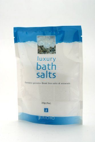 Dead Sea Luxury Bath Salts All Natural Peach (Peach Color) 9oz by Jericho Cosmetics. $12.00. Dead Sea Salts. All Natural. Dead Sea Products. Healing, Relaxing and Refreshing Bath Salt. Contains genuine Dead Sea salts and minerals. Jericho Bath Salts contain a unique composition of Dead Sea minerals and trace elements, known for their soothing effects on the skin and the whole body. Enjoy the healing, relaxing and refreshing powers of the Dead Sea in your own bathtub. O...