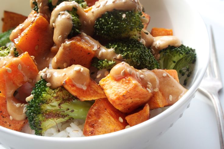 Miso Roasted Sweet Potato and Broccoli Bowl