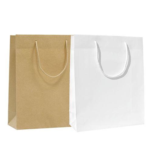 Papírová taška s bavlněným držadlem.