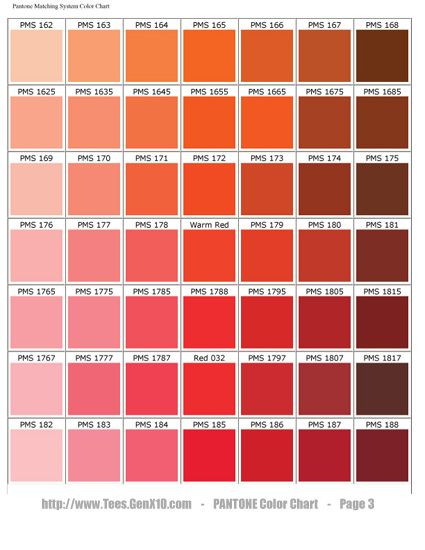 PANTONE Color Chart - PMS - Screen Printing