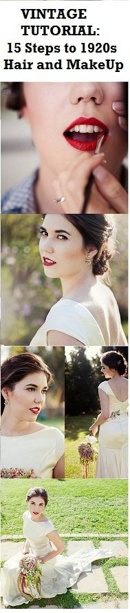 15 easy steps to super stylish 1920s bridal hair and makeup. Super easy tutorial and tips for the DIY vintage bride