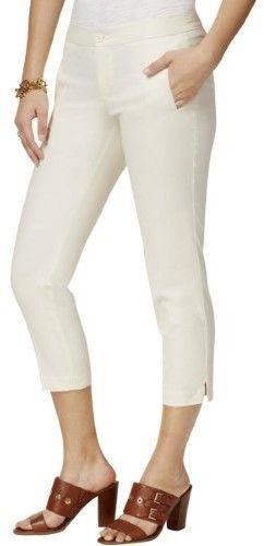 Tommy Hilfiger Womens Poplin Side Slit Capri Pants