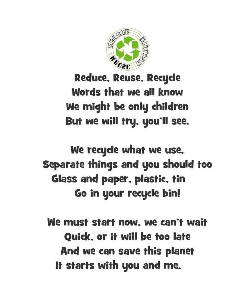 reduce reuse recycle poem