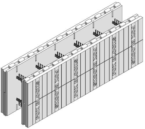 Fox blocks cheaper than quad lock 14 vs 25 for 5 sq ft for Basement wall forms