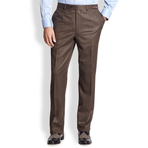 Saks Fifth Avenue Collection Flannel Trousers ($114) ❤ liked on Polyvore featuring men's fashion, men's clothing, men's pants, men's dress pants, mens flannel pajama pants, mens lined pants, mens brown pants, mens brown dress pants and mens flannel dress pants
