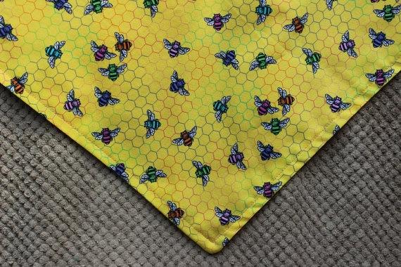 Pink and Yellow Bees Dog Bandana by MarysBigSheep on Etsy, $12.00