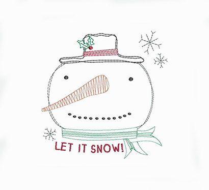 Primitive Country Christmas Stitch Let It Snow Snowman