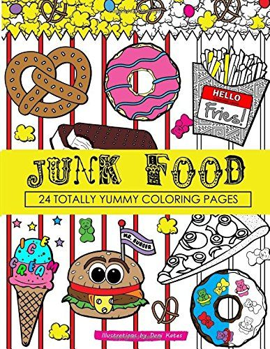 junk food coloring book 24 page coloring book by dani kates