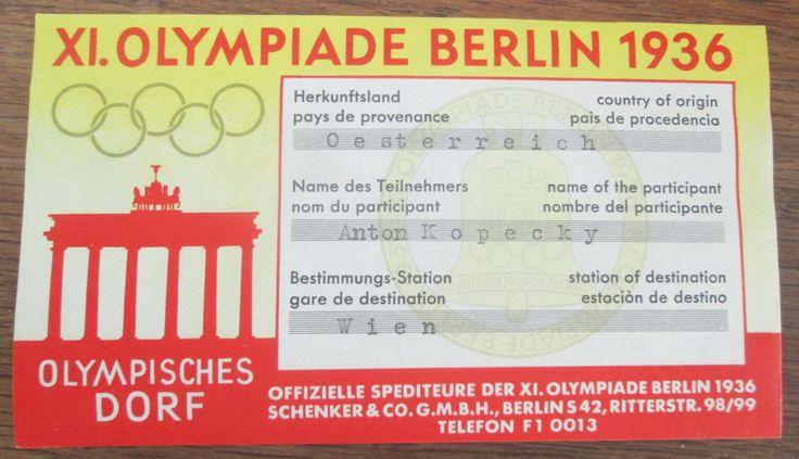 Pressekarte Eröffnung Olympische Spiele Berlin 1936 Etikett Olymp Dorf 1936   eBay