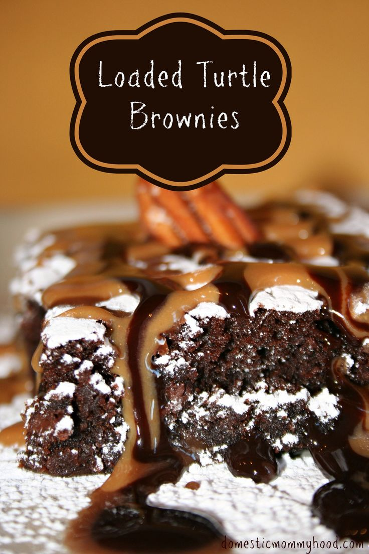 Turtle Brownies. The ultimate brownie!! Easy to do! #turtlelover # ...