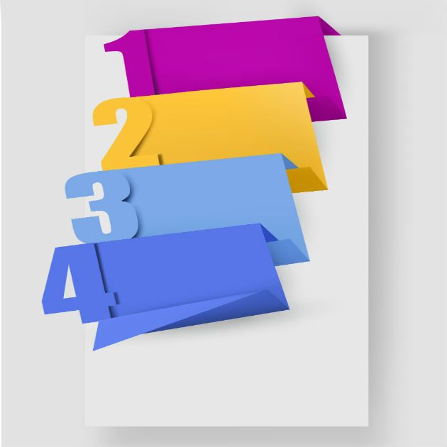 Colorful Origami Vector Banners Set