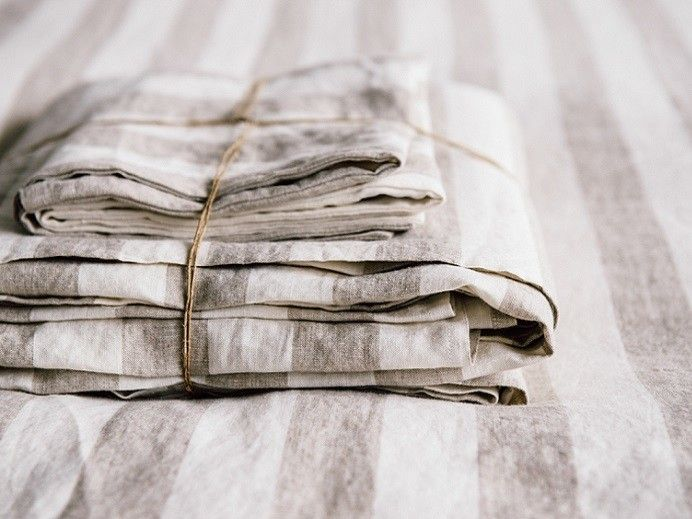 KING Ultra luxurious 100% pure French linen sheet set in Milk / Natural Thick Stripes