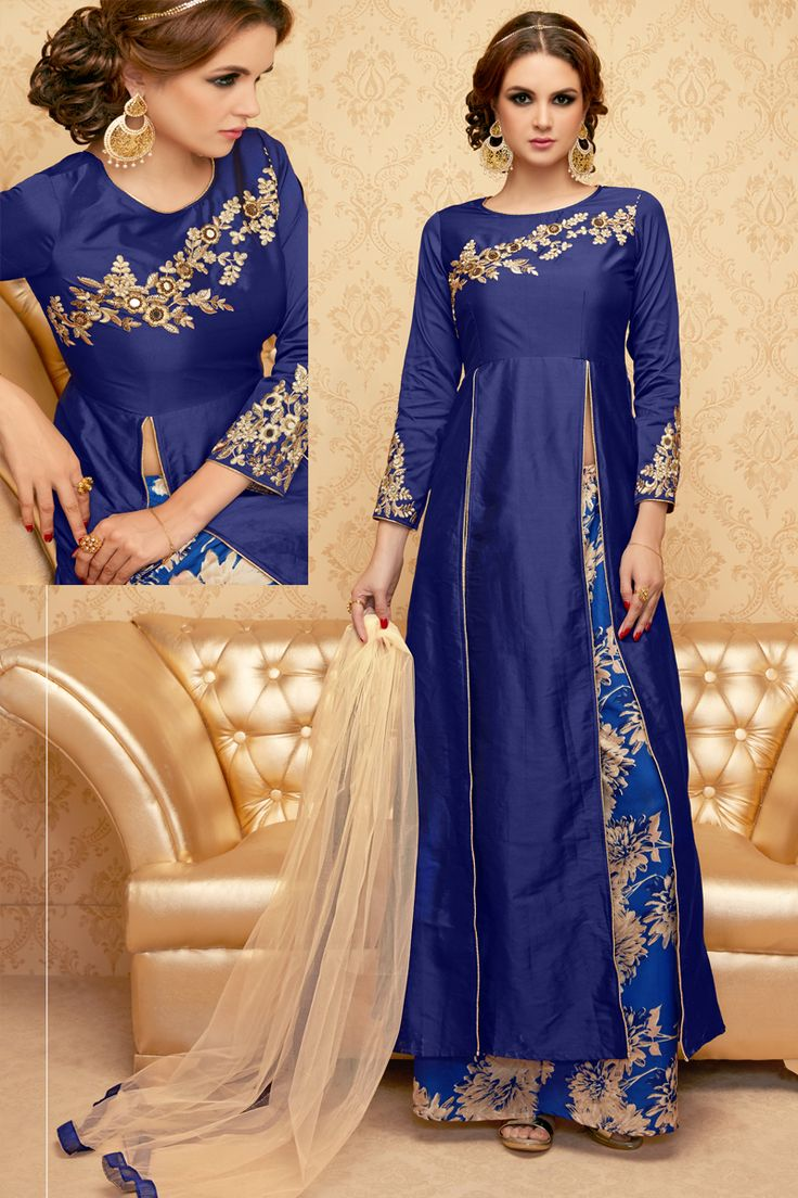 Blue Stylish Eid Special Party Wear Suit With Ghaghara  And Embroidary Work 106