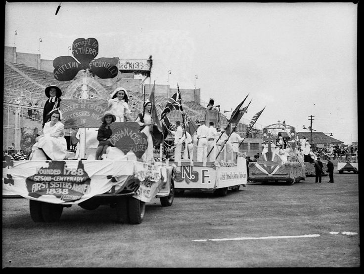 Celebrating Australian Catholic history at the St Patrick's Day parade, Sydney Showground, 12 March 1938. Sam Hood Collection, Mitchell Library, State Library of New South Wales: http://www.acmssearch.sl.nsw.gov.au/search/itemDetailPaged.cgi?itemID=22369