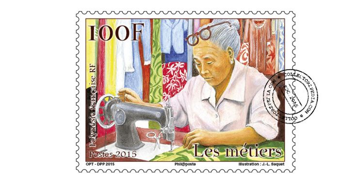 COLLECTORZPEDIA: French Polynesia Stamps Traditional professions - Needlewoman