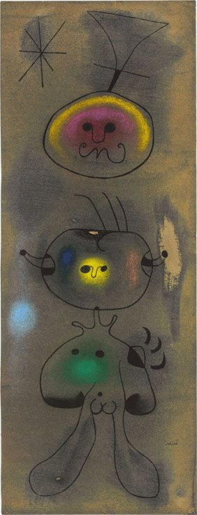Joan Miro (1893-1983), Femme oiseau étoile, 26 May 1942. Pastel, charcoal and pencil on sandpaper. 28 ½ x 11 in. (72.3 x 28 cm.)