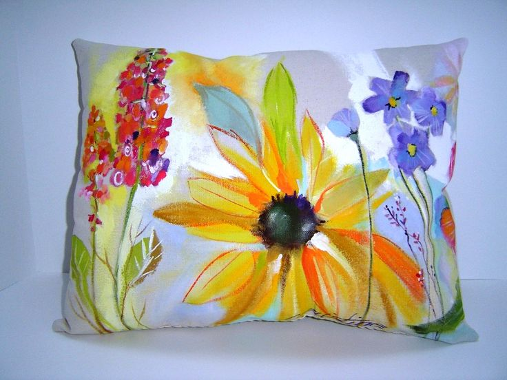 """Summer on Canvas"" - Hand painted Pillow - 14X18 - Cottage Chic - Floral on Canvas fabric"