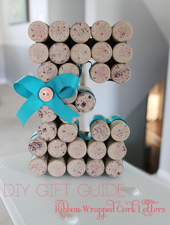 diy gift guide ribbon wrapped cork letters tutorial crafts