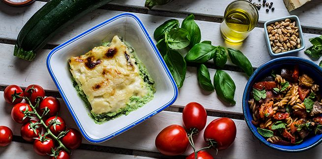 Grønn lasagne - Lasagne Verde / green lasagne #pasta #vegetarian #spinat #erter #squash #parmesan #spinach #peas #zucchini