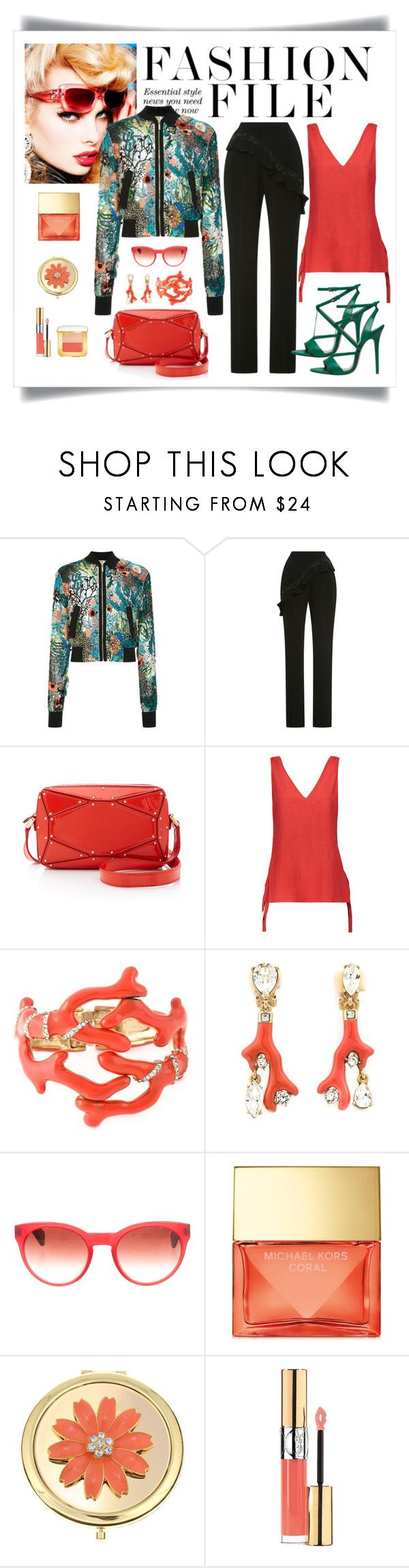 """Elie Saab Bead Embroidered Bomber Jacket Look"" by romaboots-1 ❤ liked on Polyvore featuring Bebe, Elie Saab, 10 Crosby Derek Lam, Oscar de la Renta, Oliver Peoples, Michael Kors, Liz Claiborne, Yves Saint Laurent and Tom Ford"