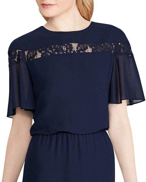 36792c9f8e0 Ralph Lauren Lace-Inset Chiffon Dress  Lace Lauren Ralph