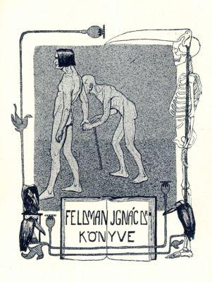 Bookplate by Tibor Bottik for  Feldman Ignác, 1906c.