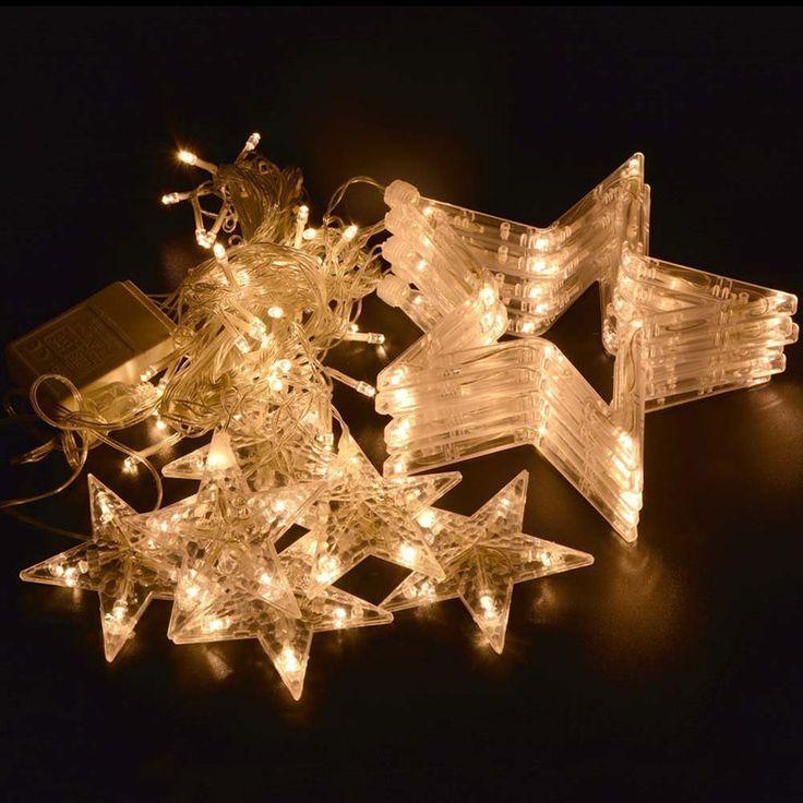 Loskii DX-336 220V LED Light String Star Shape Curtain Light Home Decor Celebration Festival Wedding