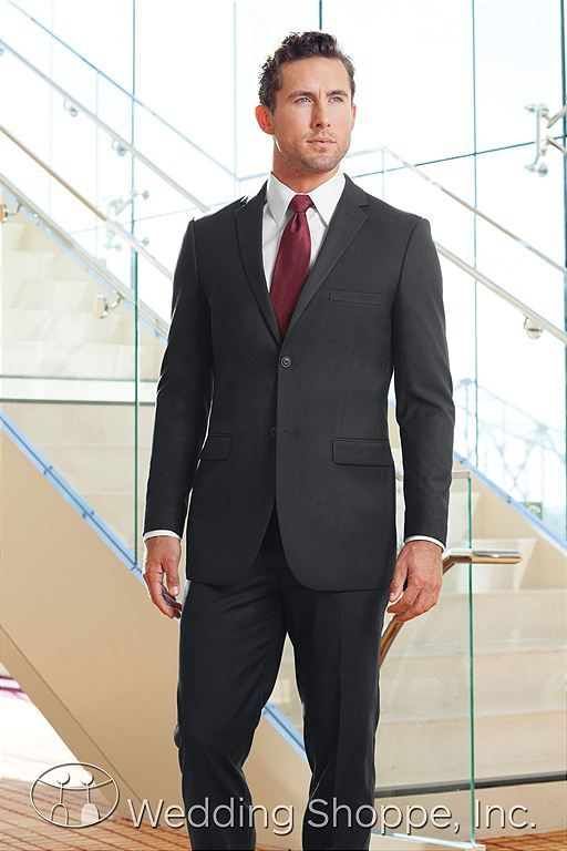 No tuxes on my day.  Groomsmen/Groom Attire Suits Jims Formal Wear Grey Modern Fit Two Button Suit Mens Wedding Suits Image 1