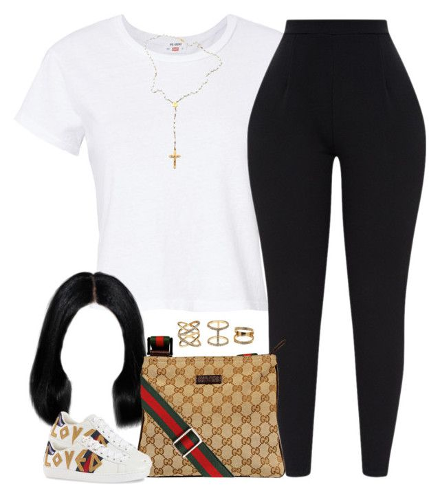 """""""loved."""" by cheerstostyle ❤ liked on Polyvore featuring RE/DONE, Gucci, Charlotte Russe and Child Of Wild"""