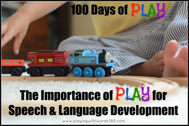 Playing With Words 365: 100 Days of PLAY! The Importance of PLAY for Speech and Language Development {With Tips}. Pinned by SOS Inc. Resources. Follow all our boards at pinterest.com/sostherapy for therapy resources.