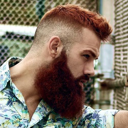 undercut hairstyle with red beard