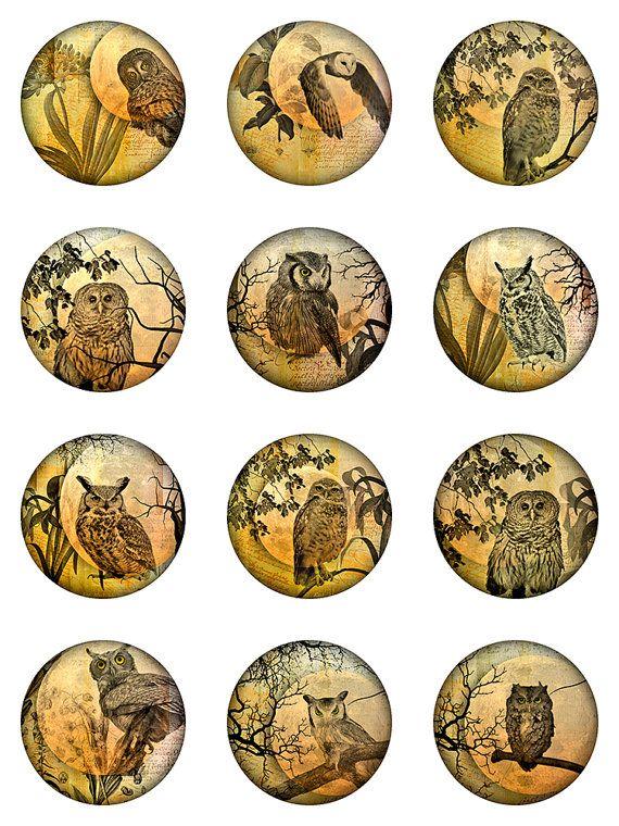 Owl Moon Ephemera Botanical Digital Collage Sheet Rounds Circles JPEG Images (S-23)