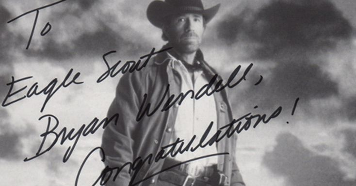 Send me congratulatory letters, photos and postcards received by Eagle Scouts A Chuck Norris letter costs $$$.