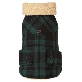 Fab Dog Americana Classics Shearling Lined Wool Plaid Dog Jacket, Green