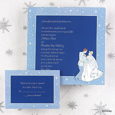 """Written in the Stars  Cinderella and Prince Charming are dancing the night away on this full color invite. Twinkling stars border a blue background where your wording will be printed.  7"""" x 7"""""""