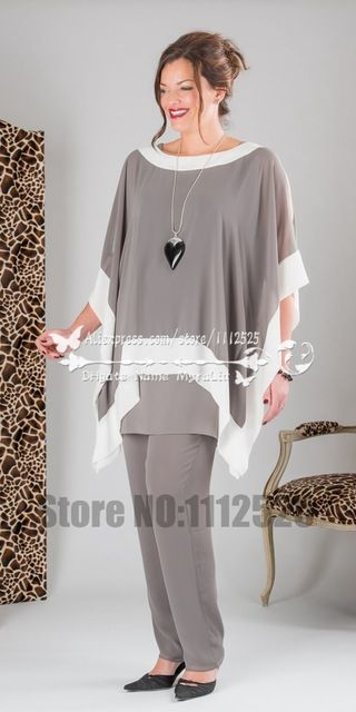 AMP1015 fashion Gray three piece Chiffon mother of the bride pants suit plus size trousers set