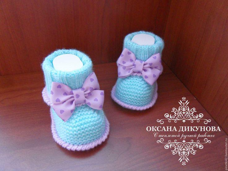 Купить Комплект для девочки - бирюзовый, однотонный, бирюзово-сиреневый, сиреневый, пинетки для девочки, пинетки для новорожденных