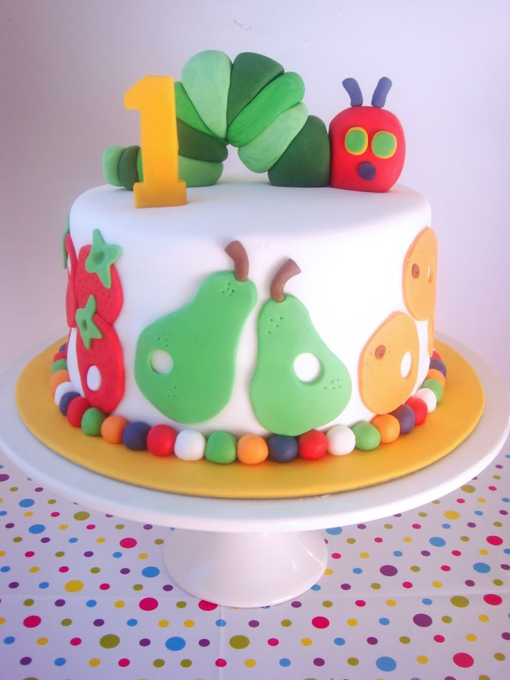 Very Hungry Caterpillar Cake, fondant fruit around base