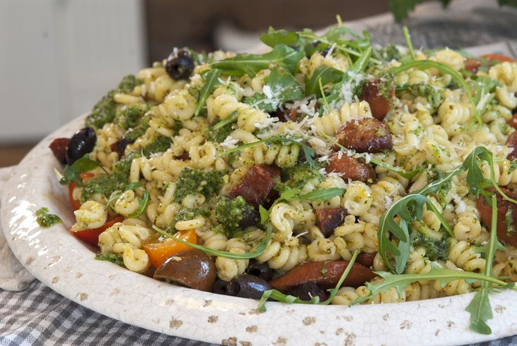 pastasalat med chorizo
