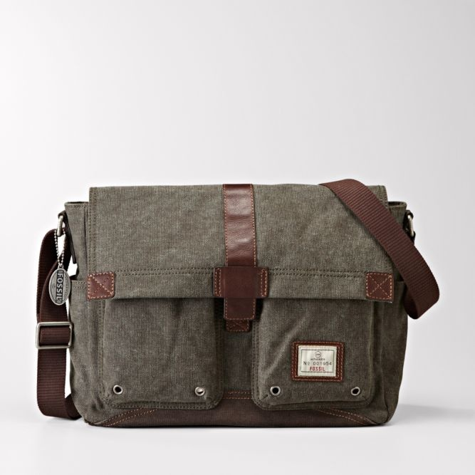 I bought this Fossil canvas messenger bag for school & it's working out great. Comfortable, durable, & stylish.