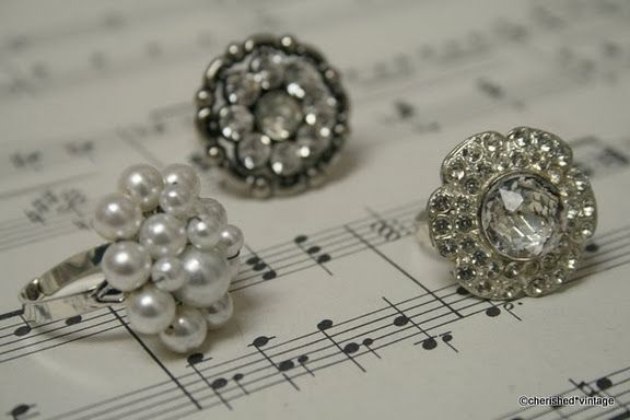 Cherish those vintage buttons and old earrings and make a rings! Stunning.
