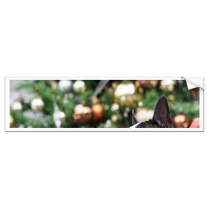 Boston Terrier Pug Dog Christmas Bumper Sticker - christmas craft supplies cyo merry xmas santa claus family holidays