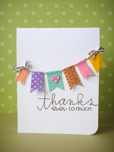handmade thank you card with washi tape banners strung on a line