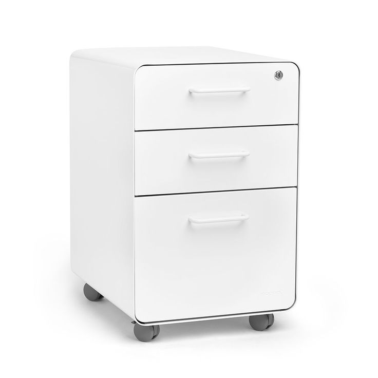 Poppin® White Stow 3-drawer File Cabinet, Rolling