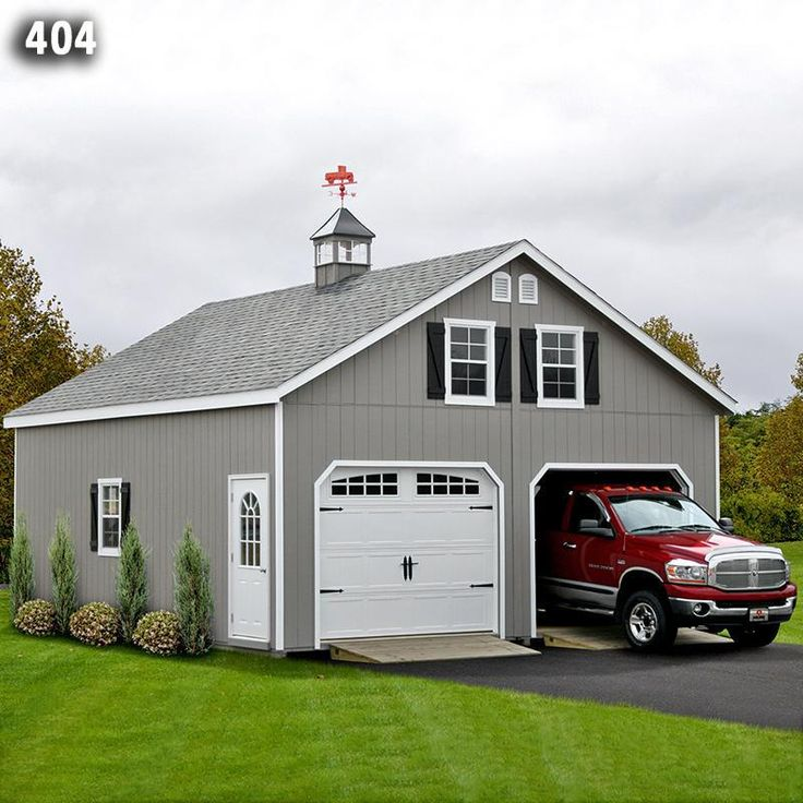24x24 2 Car 2 Story Garage AFrame Roof Carriage Doors