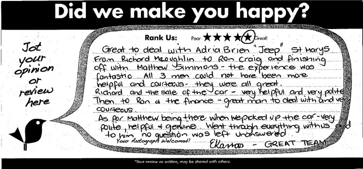 """""""Great to deal with Adrian Brien """"Jeep"""" St Marys. From Richard McLoughlin to Ron Craig and finishing off with Matthew Simmons - the experience was fantastic. All 3 men could not have been more helpful and courteous - they were all great. Richard and the sale of the car - very helpful and very polite. Then to Ron & the finance - great man to deal with and very courteous. As for Matthew being there when we picked up the car - very polite, helpful & genuine. Went through everything with us and…"""