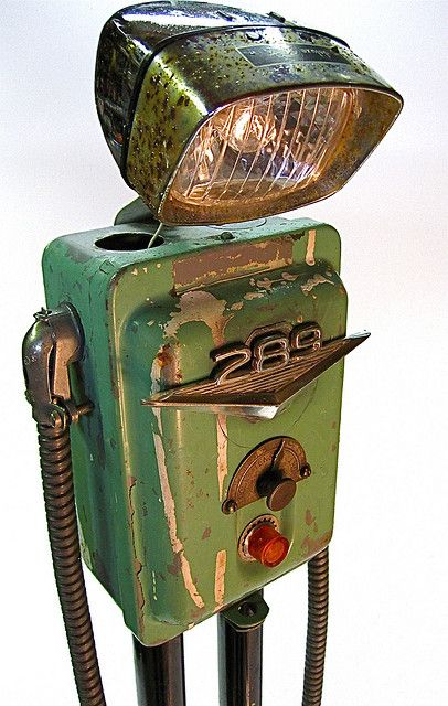 """even robot's get the blues"" found object metal art junk sculpture by ultrajunk, via Flickr"